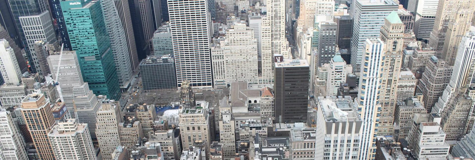 birds eye view of new york city