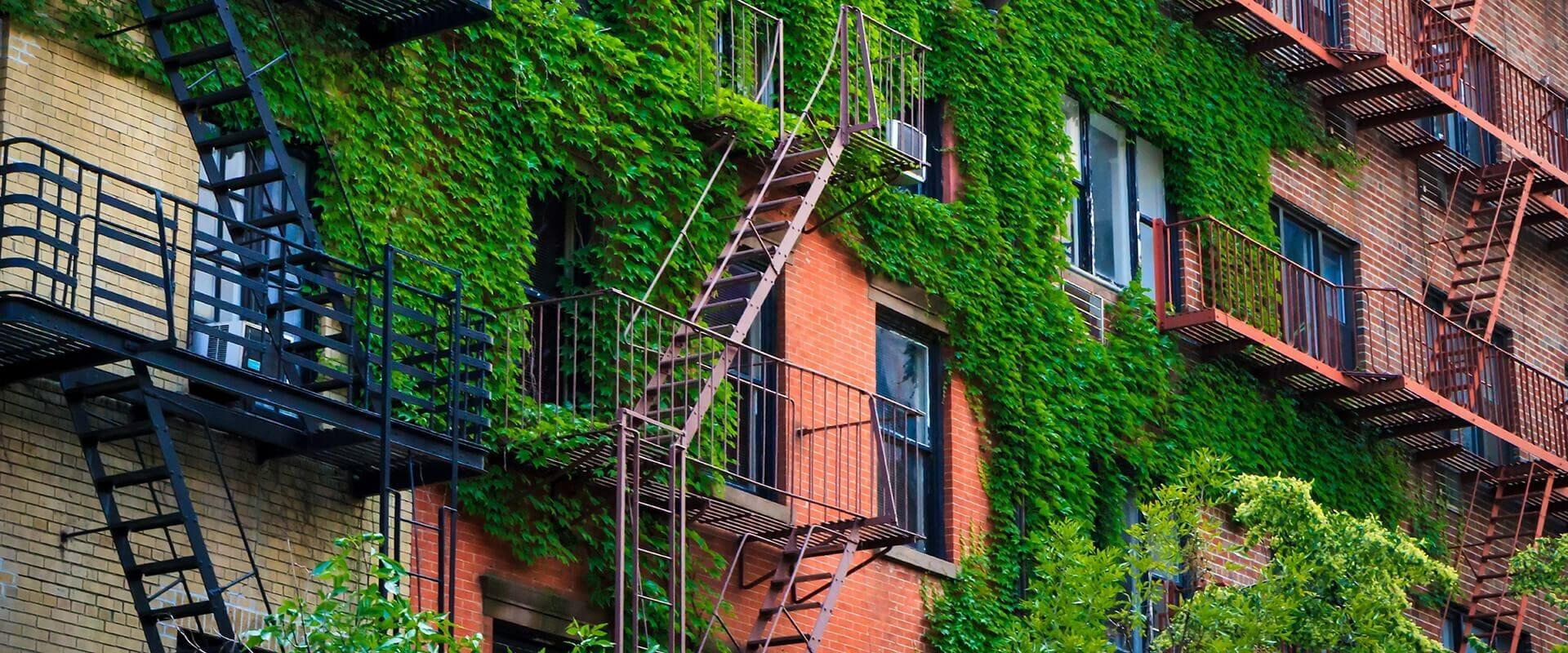 brick apartment buildings